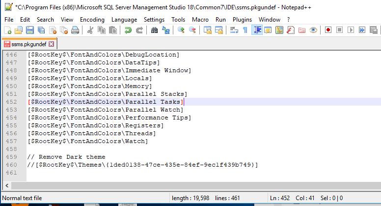 Sql Server Management Studio 18 0 GA, 17 9 Dark Theme